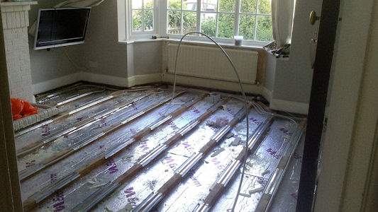Underfloor heating under construction